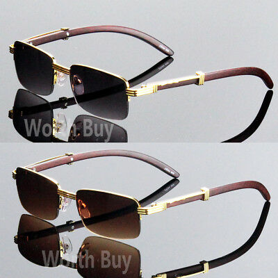 Men Women Vintage Retro Designer Sunglasses Wood Gold Half Rim Frame 80s Fashion
