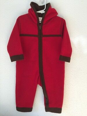 HANNA ANDERSSON Red Fleece Baby Bunting Size 80 - EUC