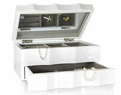 White Wooden Jewellery Gloss Box Drawer Mirror Vintage Jewellery box for womens