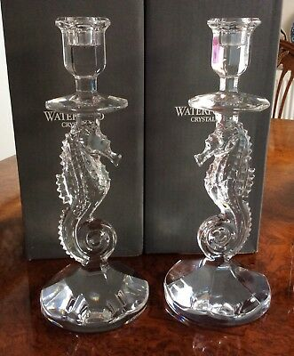 A PAIR  OF WATERFORD CRYSTAL SEAHORSE CANDLE STICKS 28.5cm