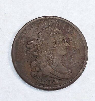 BARGAIN 1804 Spiked Chin Draped Bust Half Cent FINE 1/2c