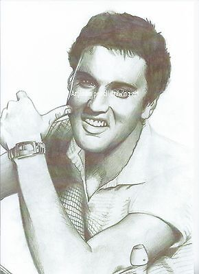Elvis Presley  pencil drawing print A4 in size limited edition Wall art