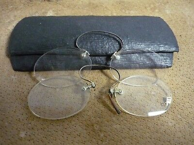 2 pairs of Vintage Pince Nez Glasses / spectacle with case - Victorian