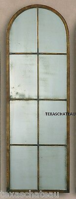 Large Antique Bronze Iron Metal Wall Mirror Floor Arched Leaner Arch Windowpane