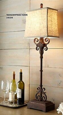 Antique Iron Scroll Wrought Buffet Lamp French Country Farmhouse Tuscan Table