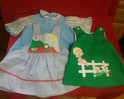 Vintage 1970s dress lot girls clothes frocks applique close to factory fresh