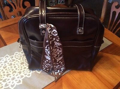 Thirty One Brown Purse Tote With Outside Pockets With Thirty One Scarf