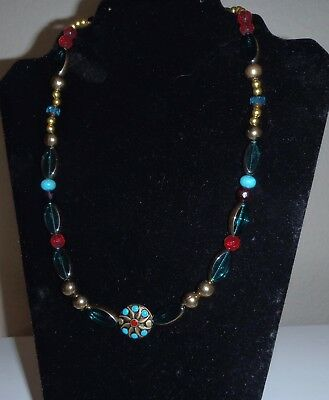 Tribal Necklace, crystal glass & brass ,Turquoise/Red Pendant, Toggle