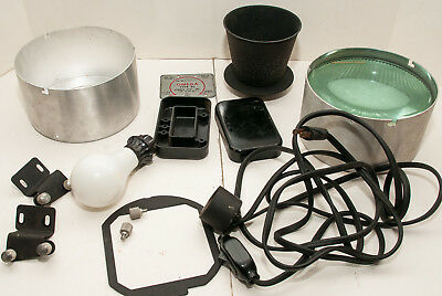 Box Lot Of 13 Omega D-2 Photo Enlarger Parts, Lamphouse, Condenser