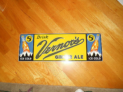 "Vernors Ginger Ale Porcelain Sign Soda Advertisement Approx 7.19"" x 21"""