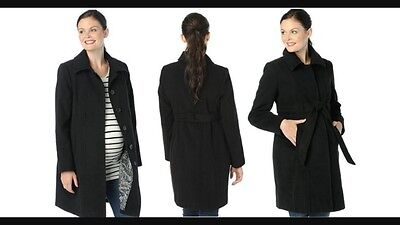 NWT Oh Baby By Motherhood Maternity Black Belted Faux Wool Coat Size Medium M
