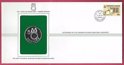 Solomon Islands 1977 Proof Set of 2 First Day Covers / sterling silver $5 coin