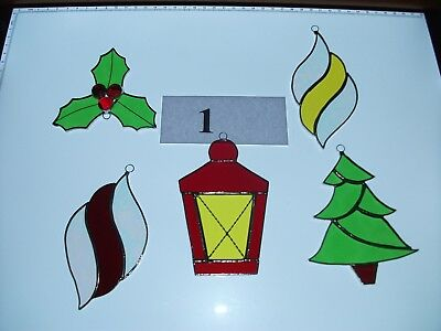 Handmade Stained Glass christmas decorations set of five