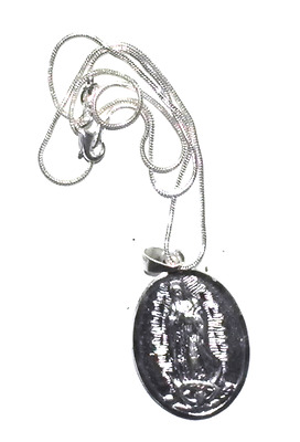 """O L Of Guadalupe & Pope Francis Medal Pendant Sterling Silver With 18"""" Chain"""