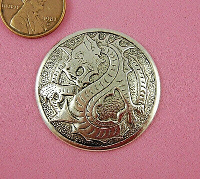 Antique Silver Plated Brass Dragon Medallion - 1 Pc