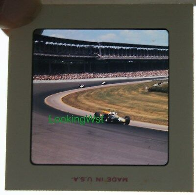 1965 Indianapolis 500 race 2 3/4 x 7mm color slide 7 #82 Jim Clark in turn 1