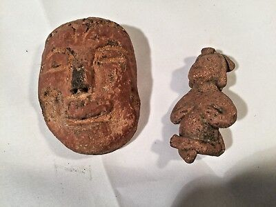 Authentic Pre Columbian Clay Mask & Seated Figure