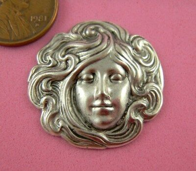 Antique Silver Plated Brass Art Nouveau Maiden #1 - 1 Pc