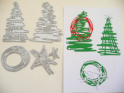 Thin Metal Cutting Die, Scribble Christmas Tree Star Circle Dies, Card Sizzix