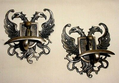 Antiq Pair Bronze Bicephalous Eagles Emblem Coat Hat Hangers Hooks Architectural