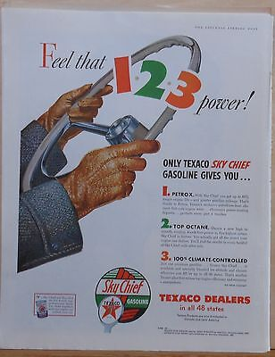 1956 magazine ad for Texaco - giant steering wheel, Feel that 1-2-3 Power