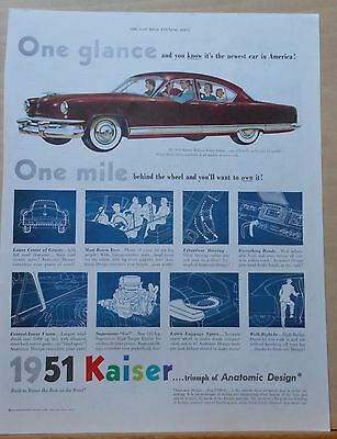 1950 magazine ad for Kaiser - 1951 DeLuxe Sedan, illustrations of features