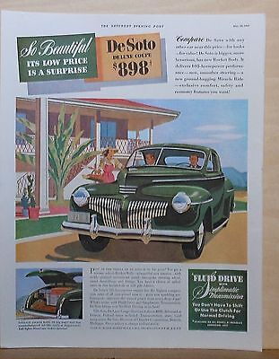 1941 magazine ad for DeSoto - Deluxe Coupe with luggage locker, So Beautiful