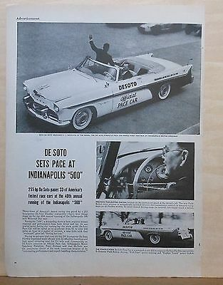 Vintage 1956 magazine ad for DeSoto - Indy 500 Pace Car, Fireflite convertible