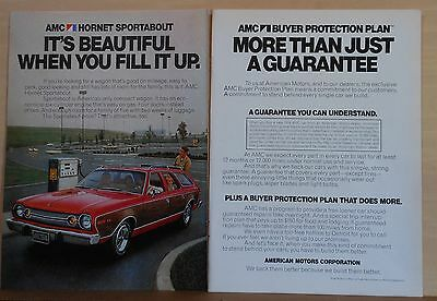 1974 two page magazine ad for AMC - Hornet Runabout station wagon, good mileage
