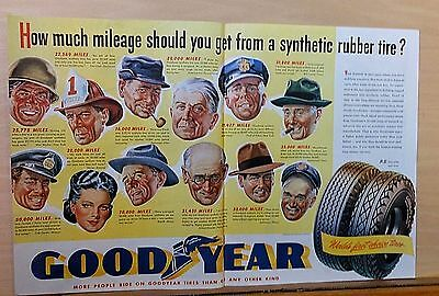 1945 double page magazine ad for Goodyear - portraits of customers, synthetics