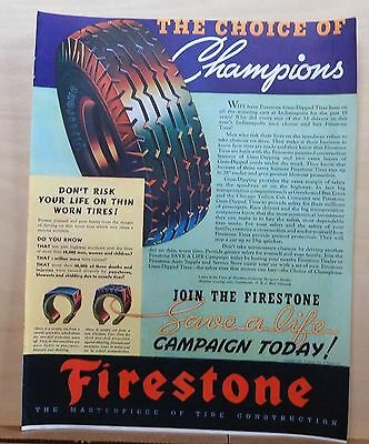 1937 magazine ad for Firestone Tires - Choice of Champions, Don't risk worn tire