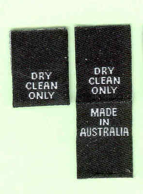 25 Dry Clean Only Made in Australia Woven Labels - White on Black