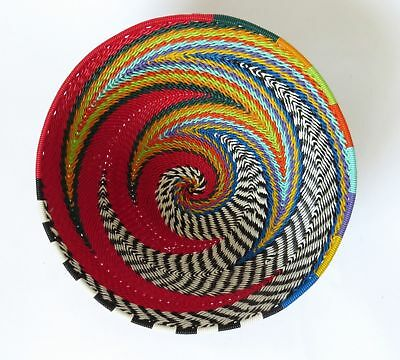 African Zulu woven telephone wire bowl  Small round - Red and multicolour - G...