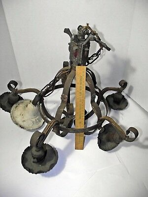VINTAGE 1920's-30's ART DECO CHANDELIER POLYCHROME CEILING LIGHT FIXTURE