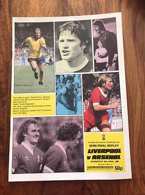 Arsenal V Liverpool 1980 Fa Cup Semi Final Replay Programme Free Postage Look