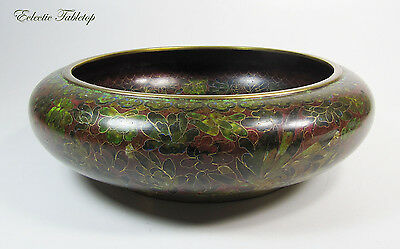 Large Vintage Chinese Cloisonne Footed Brass Bowl