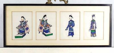 Chinese Qing Dynasty Set 4 Paintings on Silk