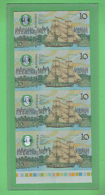 #t72. Strip Of Four Uncut 1988 Polymer $10 Banknotes