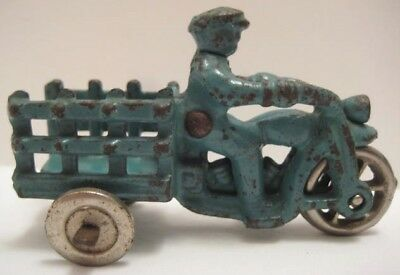 "Antique Cast Iron Toy 3-Wheel Stake Side Motorcycle 3 1/4"" Hubley H D 1930 Rare!"