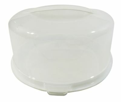 Round Large Cake Buns Pie Food Storage Plastic Tub Pot Carrier Box 33cm Made Uk