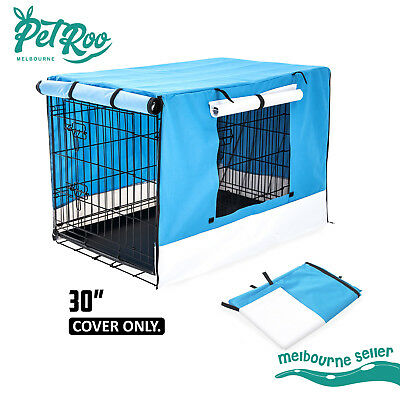 """30"""" Pet Dog Puppy Cage Collapsible Cover Crate Kennel Cat Rabbit Mesh Window BU"""