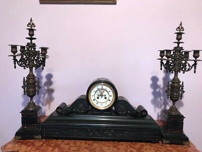 Antique French Table/mantle Clock With Two Candelabras Free Worldwide Shipping