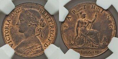 1860 Bronze Coin Great Britain Farthing Queen Victoria Laureate Bust NGC MS63 RB