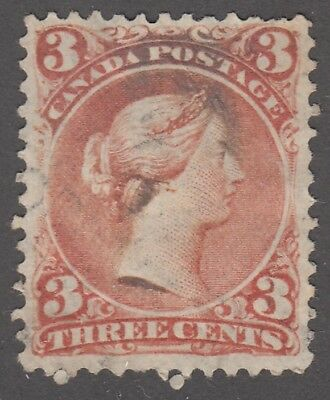 """Canada Scott #25  3 cent red """"Large Queen""""   F"""