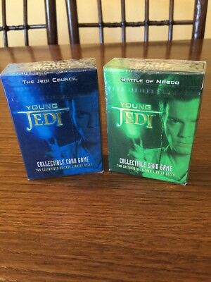 """Star Wars Decipher Young Jedi """"The Jedi Council"""" + """"Battle Of Naboo"""" 2 Sets NEU"""