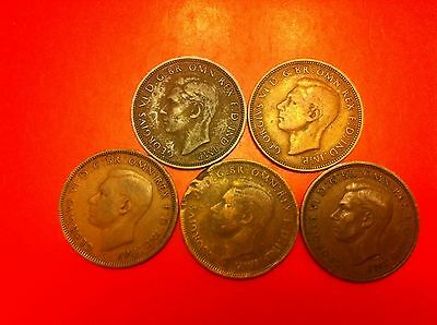 UK Great Britain 1/2 half penny coin 1941 1942 1943 1944 1945 (#8047)