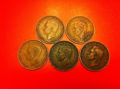 UK Great Britain 1/2 half penny coin 1941 1942 1943 1944 x2 (#8046)