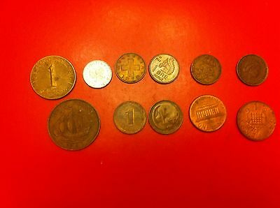 World Coins Lot Of Collection 1 Cent 1 Penny 1 Rappen 1970 1 Grosz 1949 (#1061)