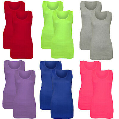 71a6a4b5716 Pack Of 2 New Women Ladies Casual Plain Summer Stretchy Ribbed Top T Shirt  Vest