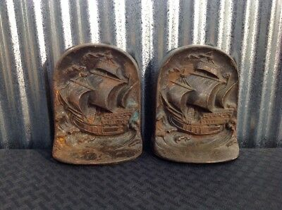 Vintage Cast Iron Bookends - Ships Sailing - Bronze Color - Heavy - Felts